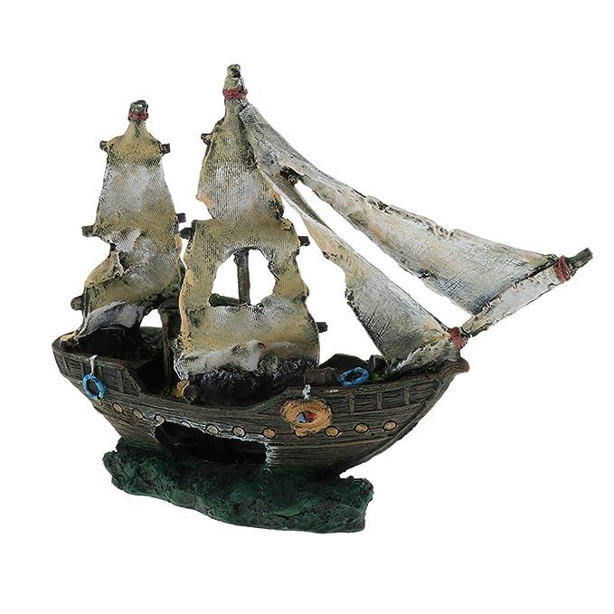 FLAMEER Acuario Barco Pirata Decoración Pecera Adornos Acuario Accesorios Artificiales: Amazon.es: Hogar