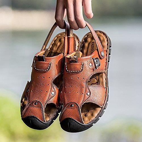 Morbido Spiaggia Xing Testa Pantofole Nuove Fondo Da Pelle Brown Two Scarpe Nuovo Outdoor Lin In Wear Sandali Leisure Uomo Estate RRFTqZw