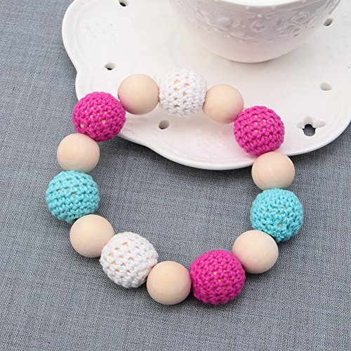 MEXUD Baby Nursing Toy Teething Bracelet With Colorful Hand Made Wooden Bead Crochet For Newborn
