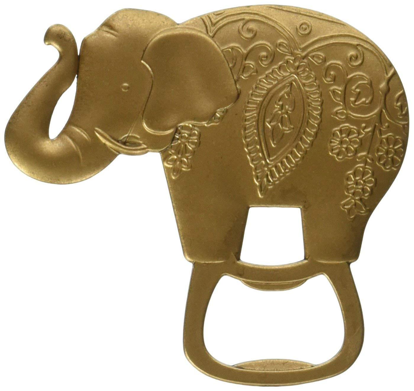 60 Kate Aspen Antique Gold Finish Metal Lucky Golden Elephant Shaped Bottle Cap Opener Wedding Thank-you Gifts Bridal Shower Party Souvenir Favors