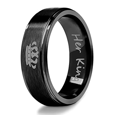 Stainless Steel Ring For Couple Her King Engraved Crown Band Black Size 5
