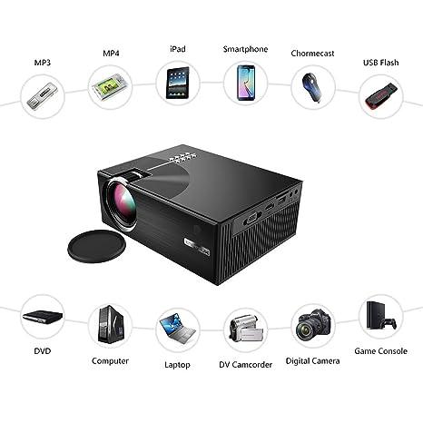 Proyector Casero del Cine, Ayuda 1080 HD LCD 1500 Lúmenes HDMI VGA ...