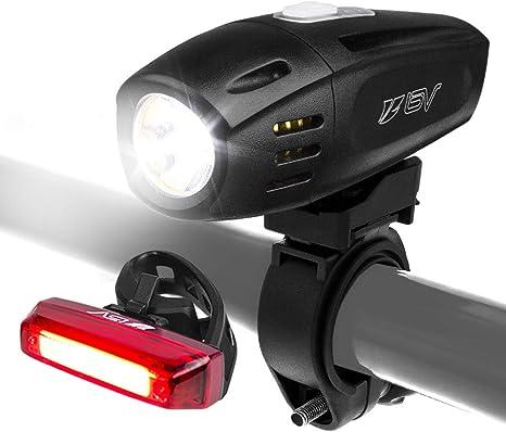 BV Set de Luces Recargables para Bicicleta USB, Faro Delantero ...