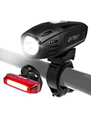 BV Super Bright (300 Lumens) Rechargeable Bike Light Set (With Low Battery Indicator), 1300mAh Lithium Battery, Water Resistant - Fits All Bicycles, Easy Install & Quick Release (USB Cable Included)