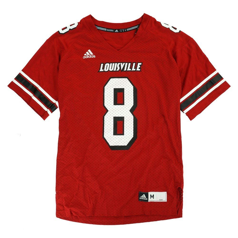 new concept 78a8a ffebb Amazon.com   adidas Louisville Cardinals NCAA Official Home Red  8 Football  Jersey Men s   Clothing