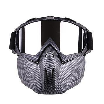 Motocicleta Gafas Máscara desmontable, Harley estilo acolchado de proteger casco gafas de sol, Road Riding UV gafas de moto, Unisex mujer (Cuadrícula)