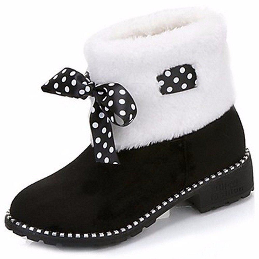 ZHUDJ Scarpe Donna Winter Snow Boots Stivali Tacco Piatto Rotondo Bowknot Di Punta Per Esterni Di Rosso E Nero  Black