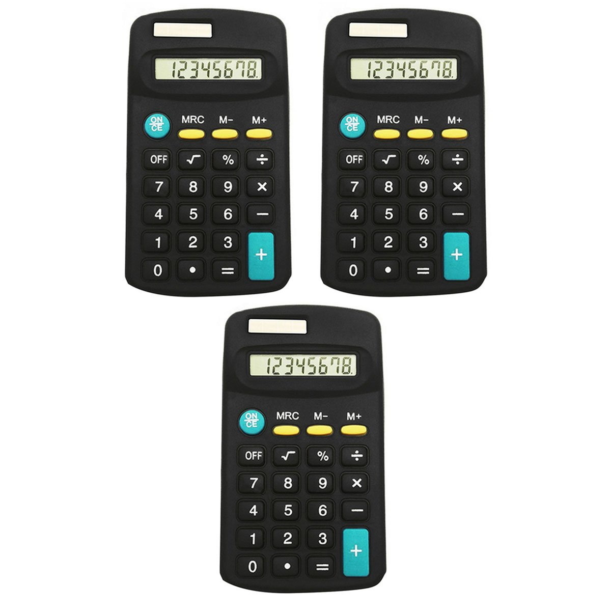 CLARA 3pcs 8-Digit Small Electronic Calculator Portable Handheld Auto Power Off Calculator for Office Financial Home School Students Use(3pcs, Black)