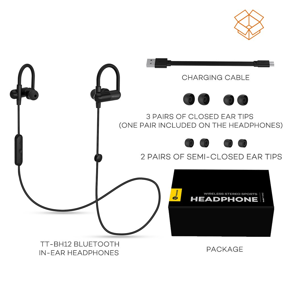 TaoTronics Bluetooth Headphones, Wireless in-Ear Earbuds Sports Earphones Bulit in Mic (Secure Ear Hooks Design, 8 Hours Play Time)