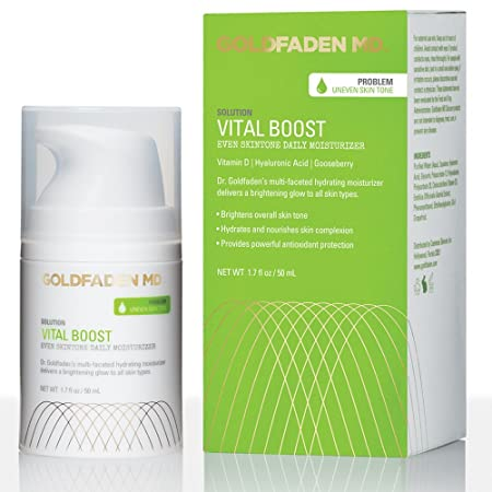 Vital Boost Skin Tone Evening Facial Moisturizer w Organic Red Tea Extract, Hyaluronic Acid, Jojoba Oil Gooseberry Helps to Brighten Even for a Radiant, Glowing Face NET WT 1.7 oz 50 mL