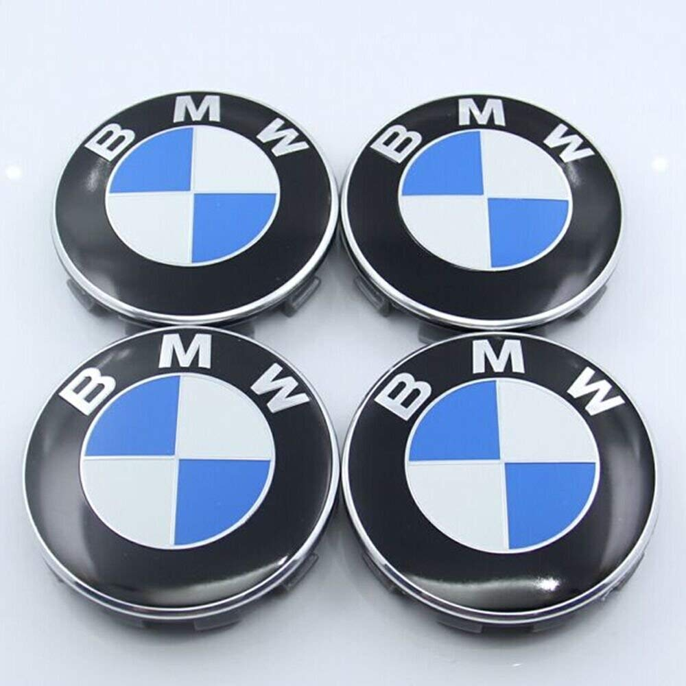 YLSY Wheel Centre Hub Caps 68mm for BMW Badge Emblem (4Pcs)(B)