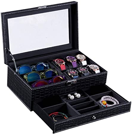 GOVD Caja Relojes Mujer con Tapa de Cristal Estuche Relojes para Guardar Relojes, Negro: Amazon.es: Hogar