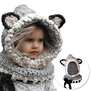 Vandot Invierno Cálido Coif Hood Bufanda Sombreros Hat Earflap Fox Tejidos  de Lana Chawls Cap Sombreros e62b2d31ce9