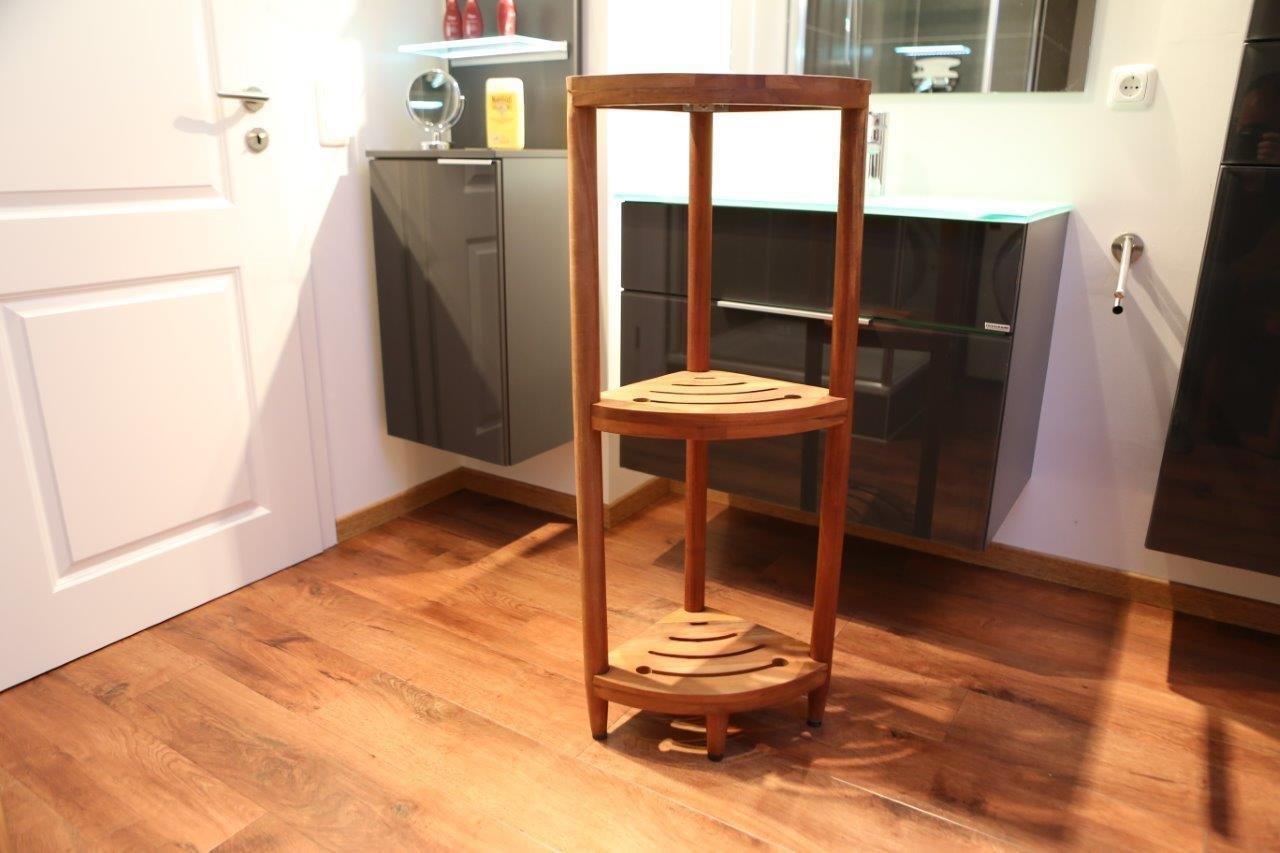 Badezimmer Eckregal DESTINY Regal Teak Holzregal Badregal Design ... | {Badezimmermöbel teakholz 68}