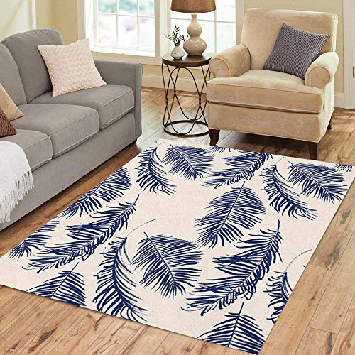 Semtomn Area Rug 3' X 5' Colorful Leaf Blue Palm Leaves Pattern Green Summer Tree Home Decor Collection Floor Rugs Carpet for Living Room Bedroom Dining Room