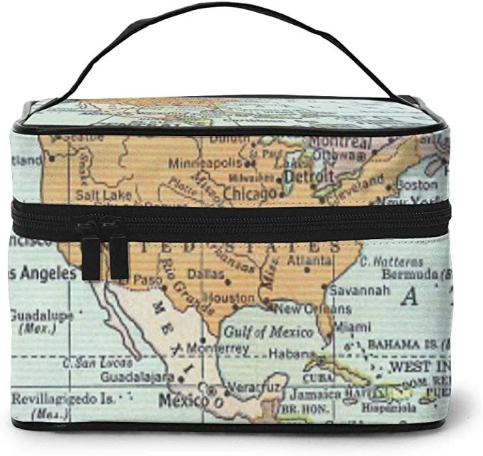 Estuche de maquillaje y neceser con diseño de mapa del mundo antiguo digital, bolsa de maquillaje para mujer: Amazon.es: Equipaje