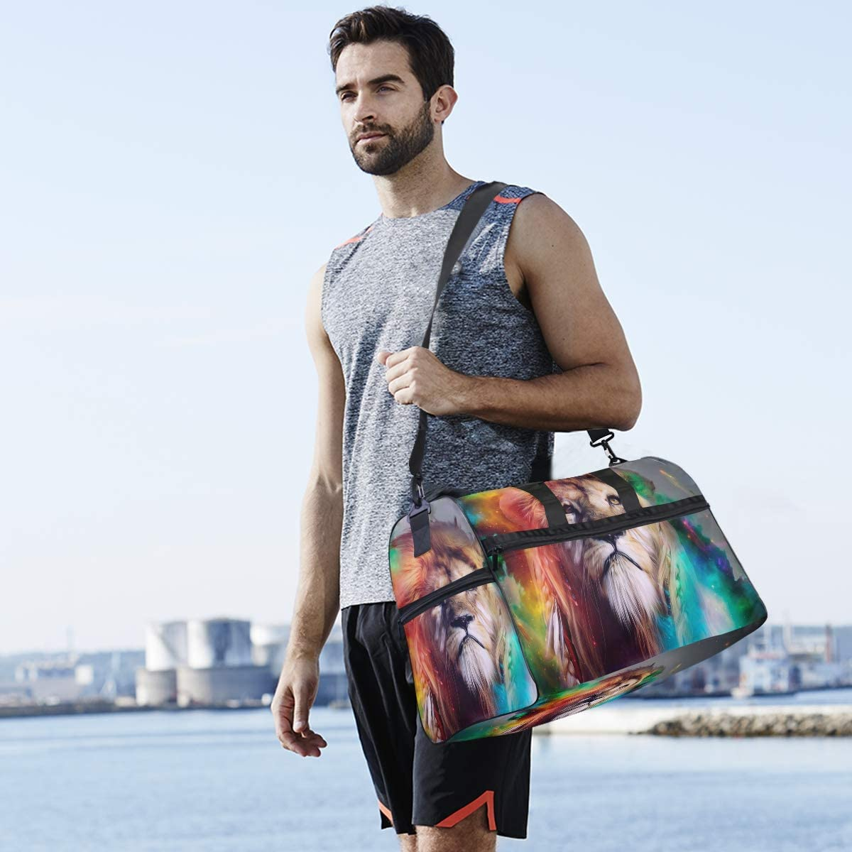 MUOOUM Colorful Art Lion Large Duffle Bags Sports Gym Bag with Shoes Compartment for Men and Women