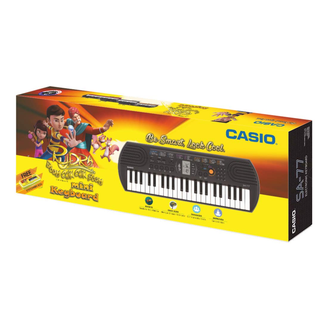 Casio SA77 Mini Portable Keyboard with Adaptor and Free Rudra Stationery Box product image