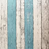"HelloAuto Wood Peel and Stick Wallpaper 17.8""x197"" Self-Adhesive Removable Vintage Wooden Stripes Wallpaper Decor Wall Contact Paper Decals Decoration Textured Panel for Living Room Bedroom"