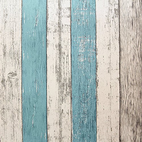 "HelloAuto Wood Peel and Stick Wallpaper 17.8""x197"" Self-Adhesive Removable Vintage Wooden Stripes Wallpaper Decor Wall Contact Paper Decals Decoration Textured Panel for Living Room Bedroom (Removable Panel)"