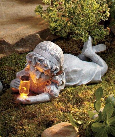 Solar Firefly Little Girl Garden Statue