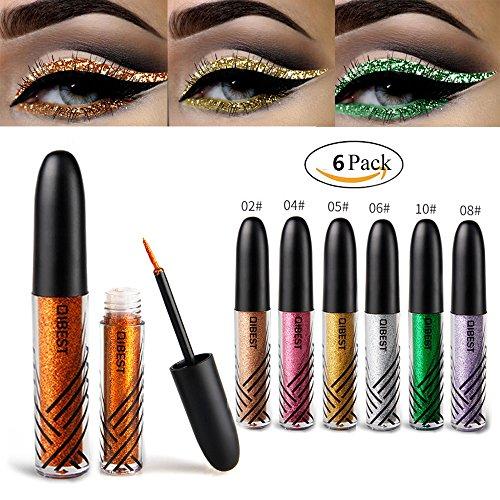 Glitter Eyeshadow 6 Colors Liquid Glitter Eyeliner Metallic Shimmer Glitter Eyeshadow by Bestnice