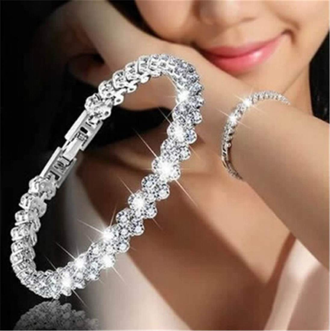 Tmrow Ladies Cubic Zirconia Crystal Tennis Tennis Bracelets Clear White Gold Plated for Women Girls