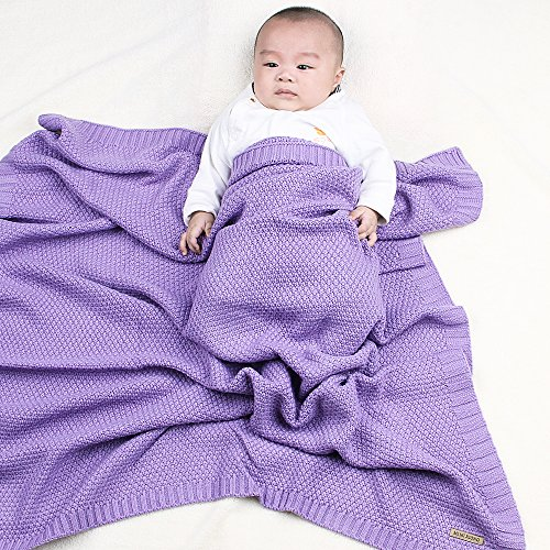 MiMiXiong Newborn Cellular Knitting Baby Blankets Super Soft Swaddle Wrap For Stroller Toddler Bedding Cover (Purple) Crochet Baby Blanket