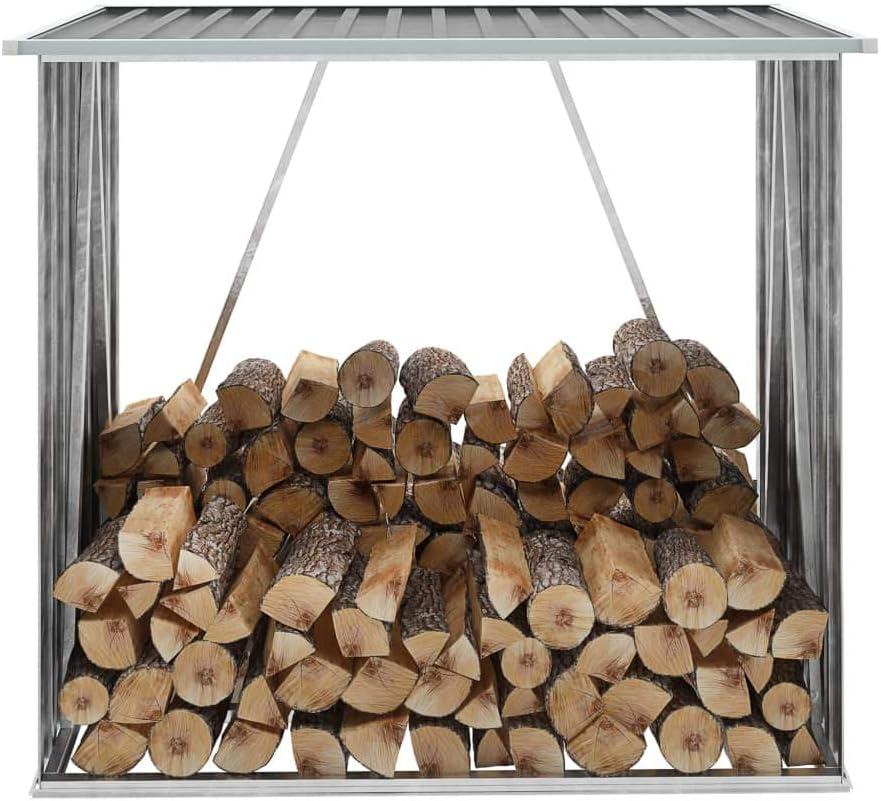 Tidyard Casetilla para leña Acero galvanizado Gris 163x83x154 cm ...