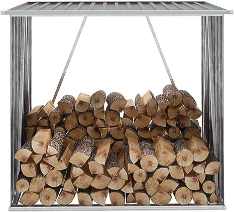 Festnight Casetilla para Leña Acero Galvanizado Diseño Inclinado Gris 163x83x154 cm: Amazon.es: Hogar