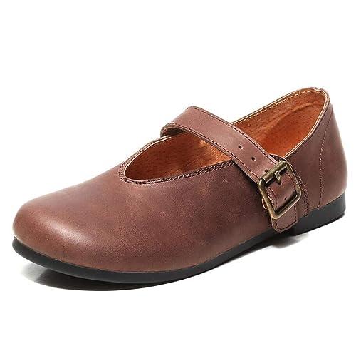 Mocasines para Mujer Literary Vintage Shoes Hebilla Plana Talón Casual Mary Jane Zapatos Otoño: Amazon.es: Zapatos y complementos