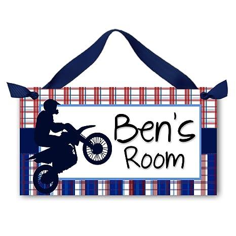 Amazon.com: Dirt Bike Rojo y azul tartán Boys personalizada ...
