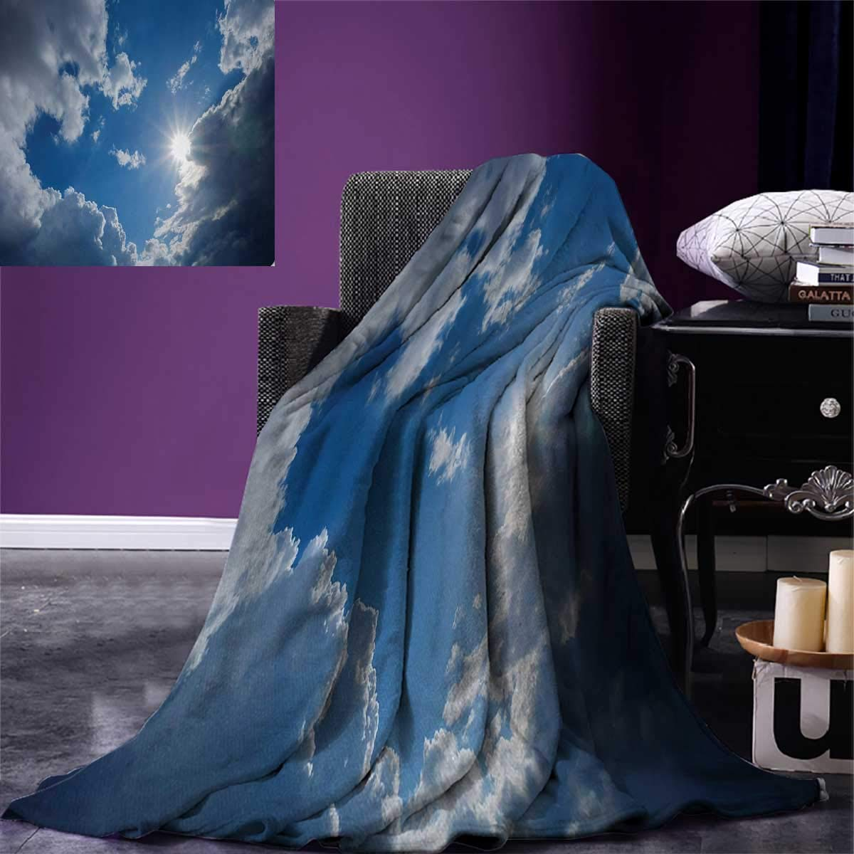 Landscape Digital Printing Blanket Clear Weather Vivid Vibrant Sun On Sky with Clouds Solar of Clean Energy Power Art Summer Quilt Comforter 80''x60'' Gray Blue