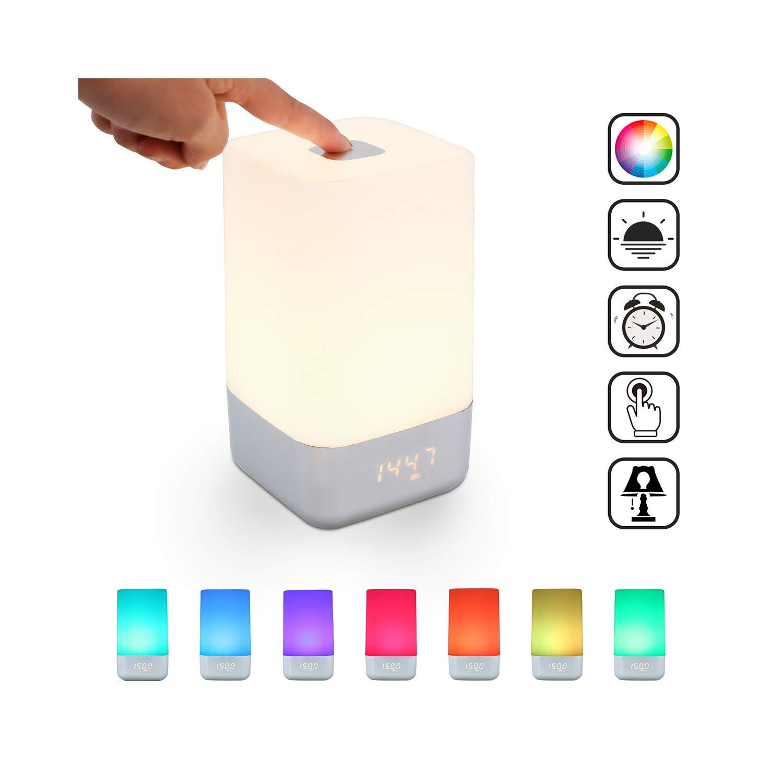 SAILNOVO-Wake UP Light ,Control Táctil de Lampara de Mesa, Luz de Noche con Múltiples el Colores 3 Modos De Luz y 256 RGB Colores,5 Sonidos Naturales te permiten despertar comodamente.
