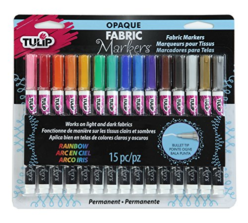 Tulip Opaque Permanent Nontoxic Fabric Markers 15 Pack - Fine Bullet Tip