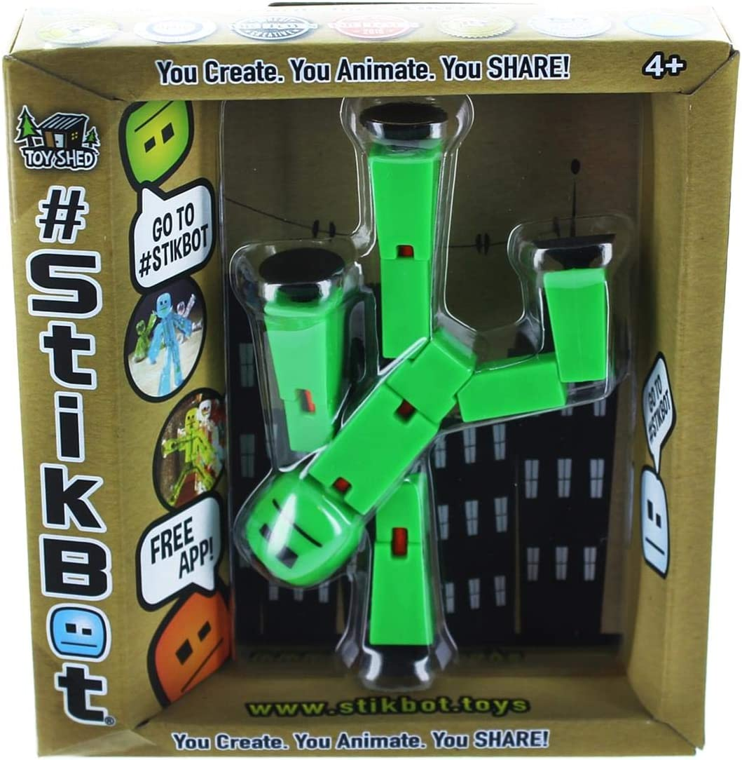 Stikbot Solid Color Green Action Figure Opaque Filming Animation Toy Skitbot Bot
