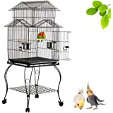 Yaheetech Triple Roof Top Large Metal Rolling Bird Cage Parrot Cockatiel Parakeet Green Cheek Conure Caique Aviary Canary Pet Perch with Detachable Stand 59.5 x 59.5 x 140 cm (LxWxH)