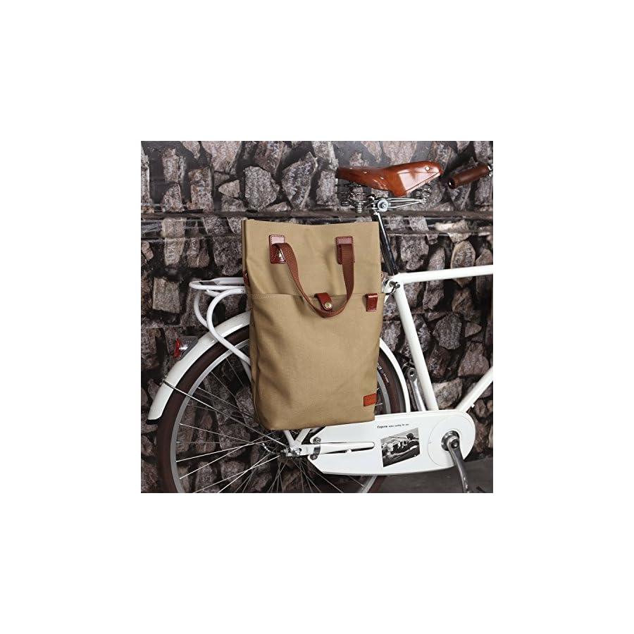 TOURBON Canvas Clip On Quick Release Bike Panniers Women's Shoulder Tote Bag Khaki