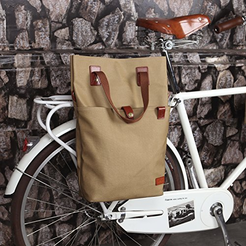 Tourbon Canvas Clip On Quick Release Bike Panniers Women's Shoulder Tote Bag