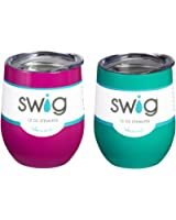 Occasionally Made O-SW-9-BK Swig Wine Cup, 9 oz (Turquoise & Berry)