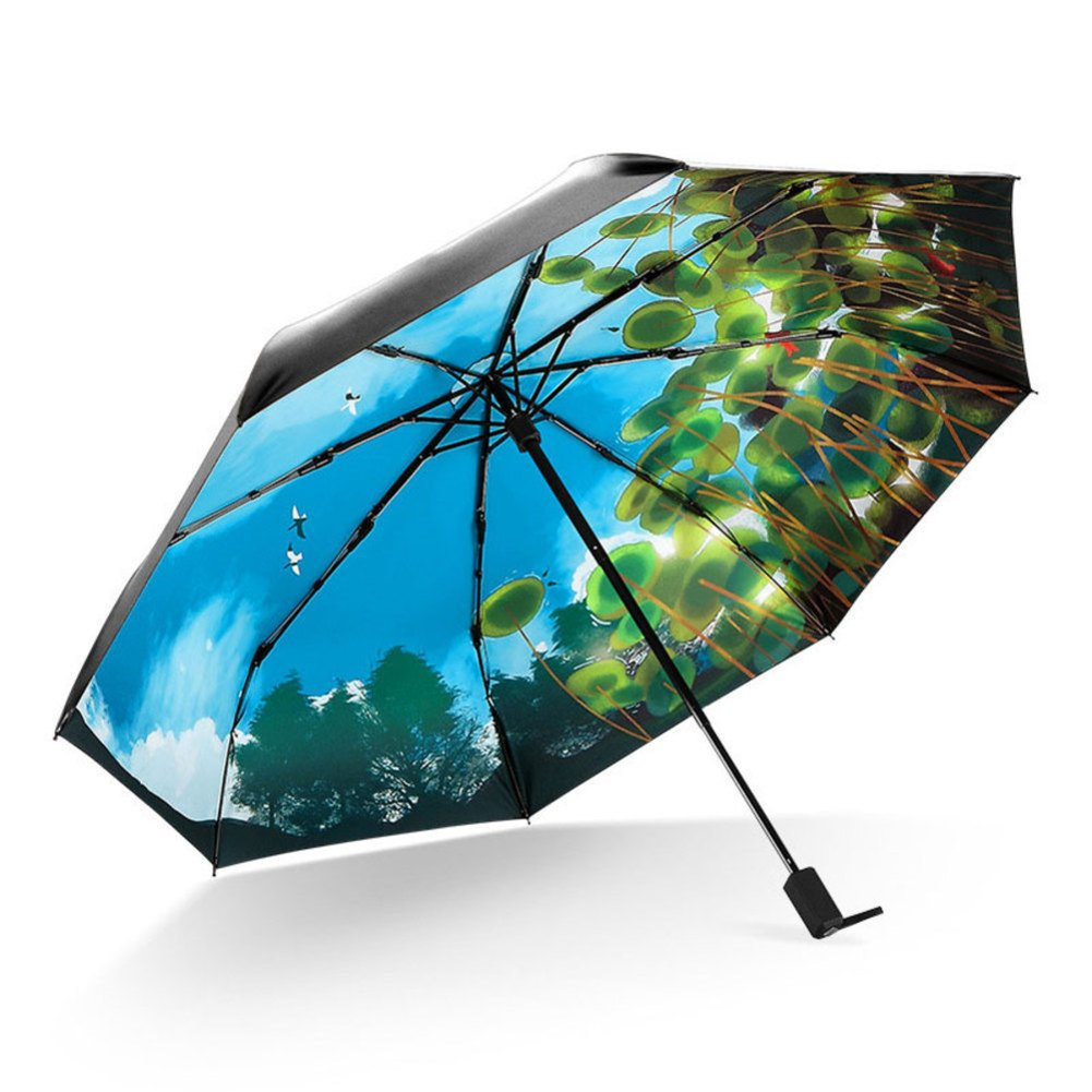Fine Art 3 Folding UV Protection Umbrella,Compact Travel Portable Umbrella
