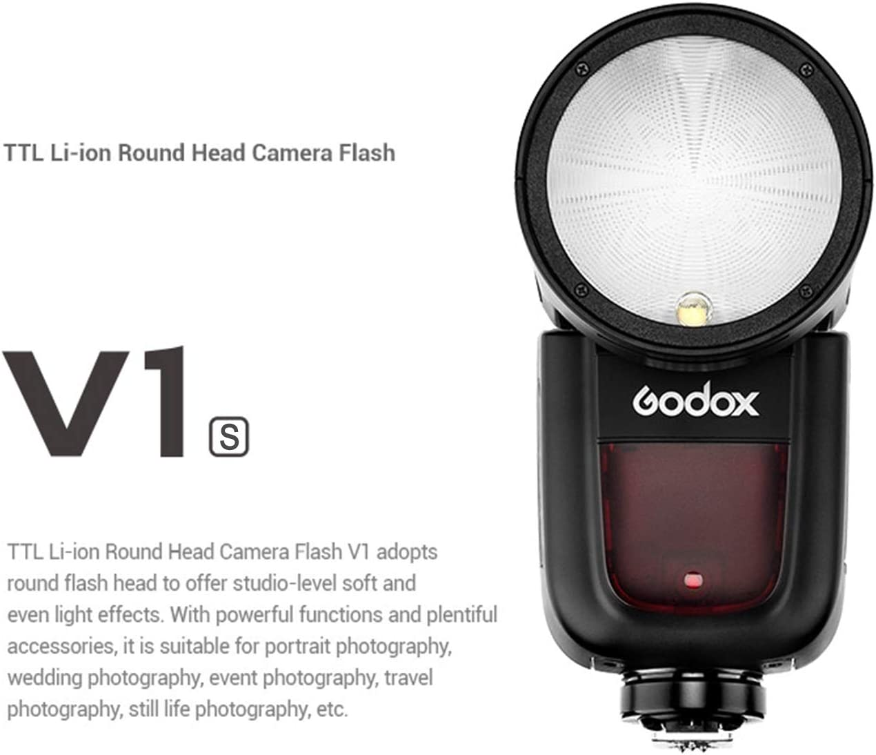 Recycle Time Godox V1-S TTL Round Head Flash Speedlite with 1//8000s HSS 10 Level LED Modeling Lamp for Sony DSLR Camera 2600mAh Lithium Battery 1.5 sec