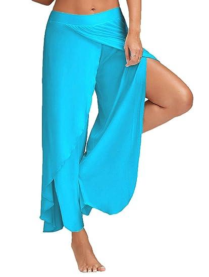 6fbf7250602ef Minetom Casual Pantalons Jambe Large pour Femme Epurée Fendue Grande Taille  Jupe-Culotte Bouffant Elastique Extensible Palazzos Yoga  Amazon.fr   Vêtements ...
