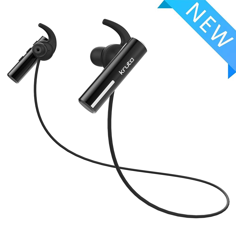 Kruta Bluetoothヘッドフォン IPX7 防水 ワイヤレス 5.0 スポーツイヤホン 豊かな低音 HiFiステレオ マイク付き aptX 8~9時間再生 ノイズキャンセリングヘッドセット トレーニング ランニング ジム用   B07QHXKZ11