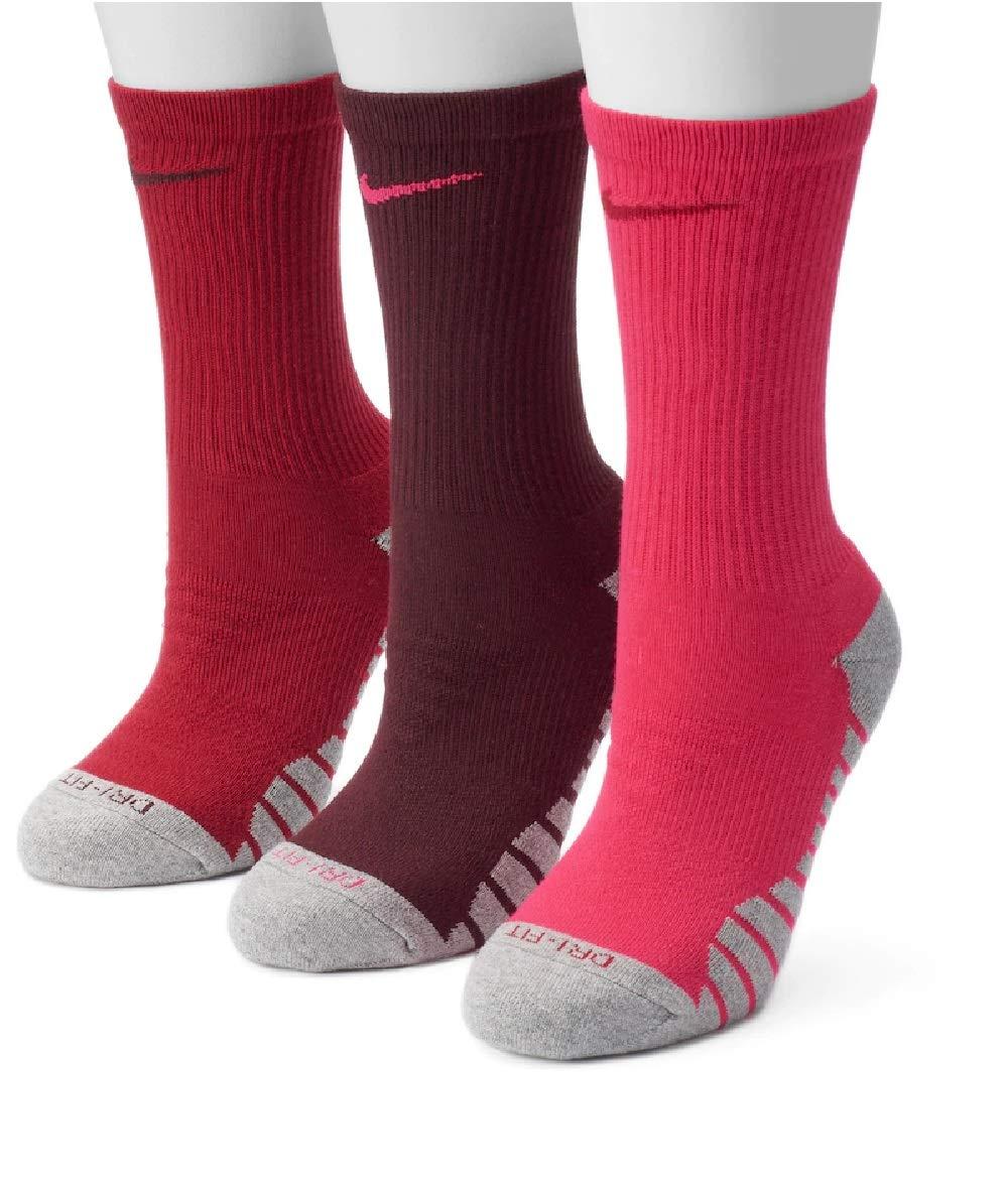 NIKE Women's 3-pk. Dri-Fit Cushioned Crew Socks,Red,Medium by Nike
