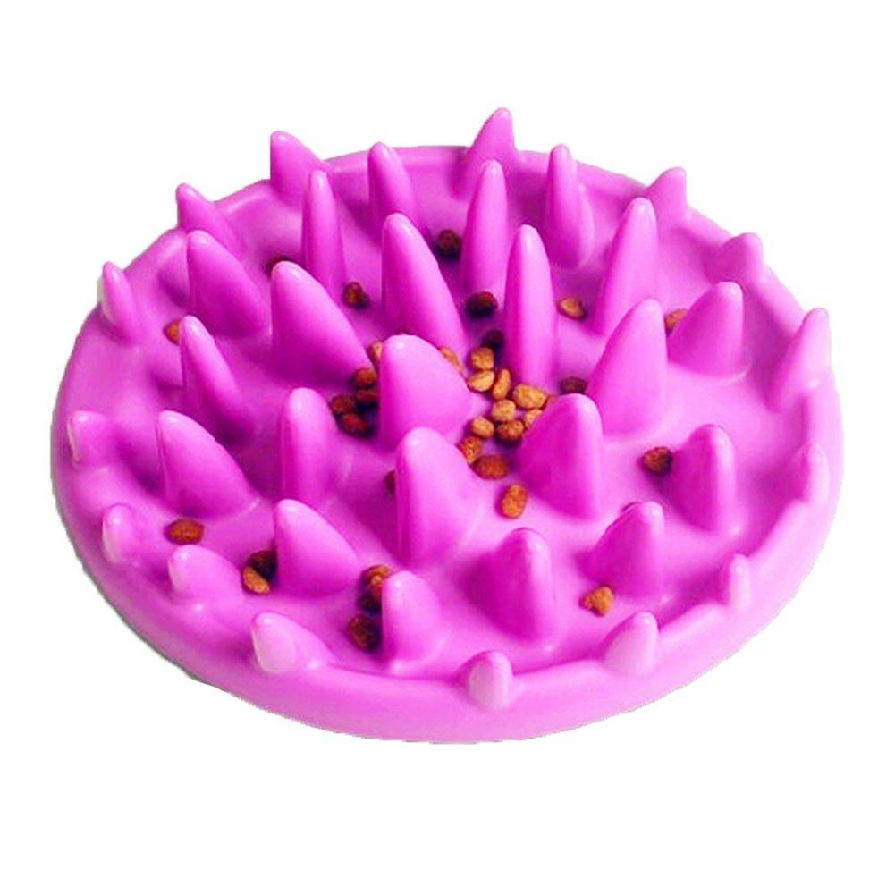 EBRICKON Pet Interactive Feeder Digestion Puzzle Food Bowl Slow Food Bowl Non Slip Anti Gulping Feeder Bowl (purple)