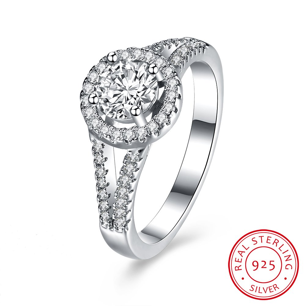 BALANSOHO 925 Sterling Silver CZ Wedding Bands Halo Anniversary Engagement Rings for Women Size 8