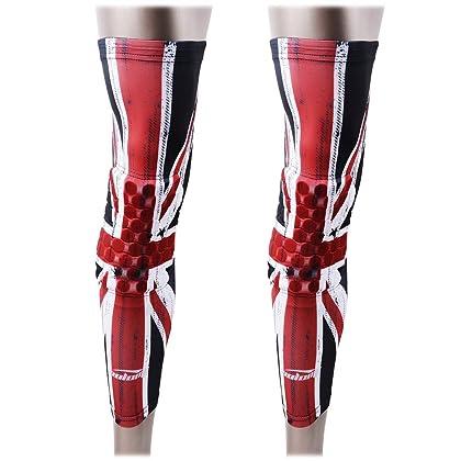 6080deb9b8165 COOLOMG 2 Packs (1 Pair) Kids Adult EVA Pads Crashproof Basketball Leg Knee  Long Sleeve Protector Gear UK Flag X-Small
