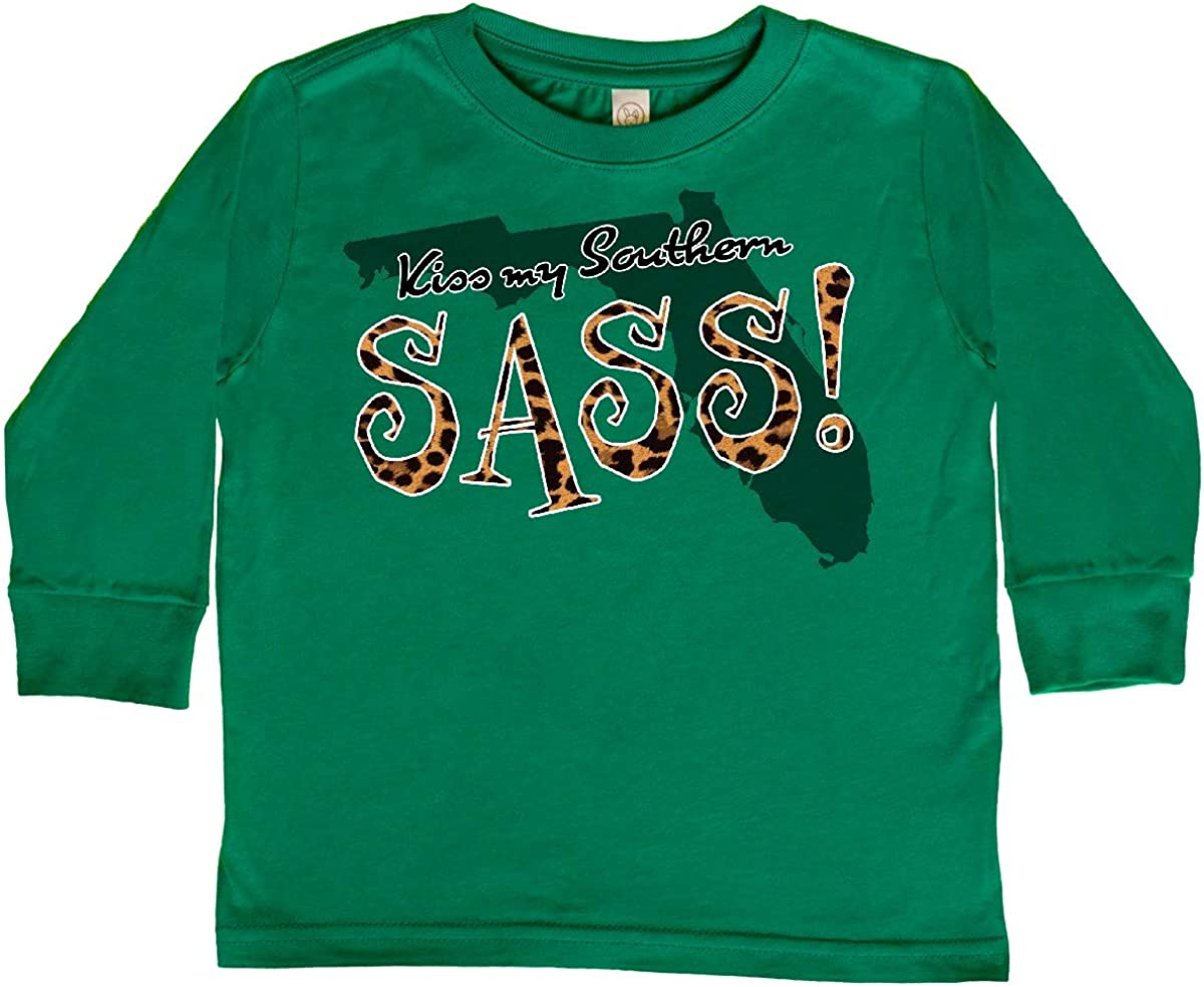 inktastic Florida Kiss My Southern Sass in Leopard Toddler Long Sleeve T-Shirt