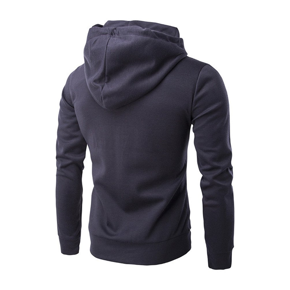 Joyi Men Winter Autumn Double Zipper Long Sleeves Sports Hoodies Jacket Coat